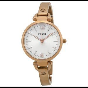 Fossil Georgia White Dial Gold-tone Ladies Watch